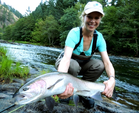 Genevieve Long with the big hen we all dream about. This was Genevieve's first steelhead, that's gonna be tough to beat.
