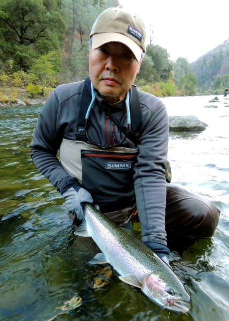 """""""Fish is coming"""" Mr. Matsuda with a beauty"""